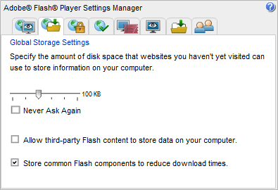 Disallow third party Flash content data storage
