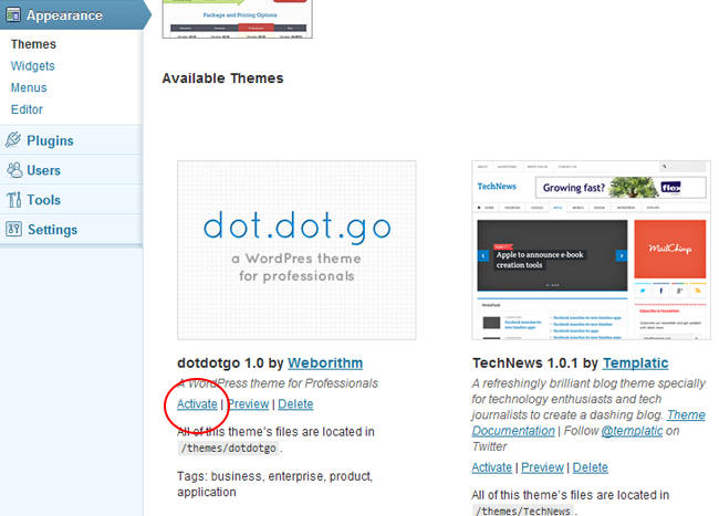 Activate WordPress Themes