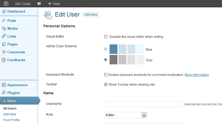 WordPress Show toolbar option