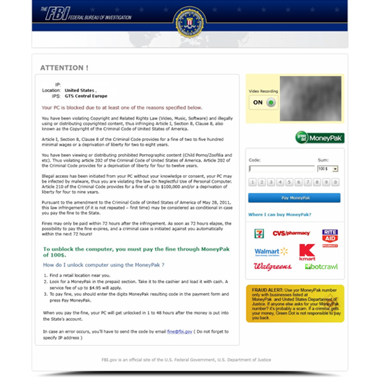 FBI Moneypak Ransomware Virus