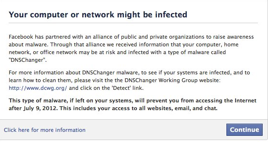 Facebook DNS IP Warning