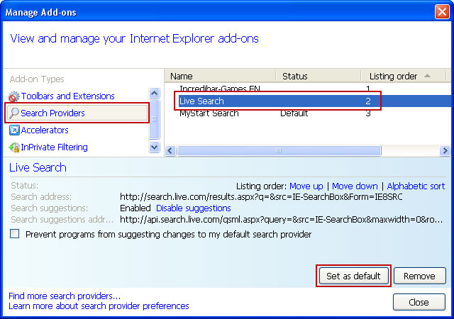 Live Search Internet Explorer