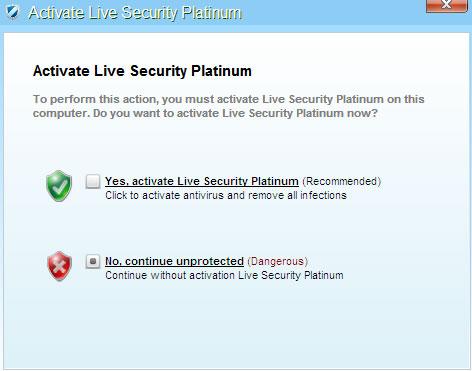 Live Security Platinum Alert Message