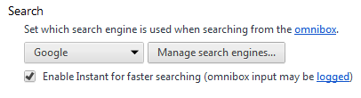 Manage Search Engines Chrome