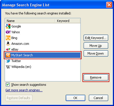 Mystart search engine list Firefox
