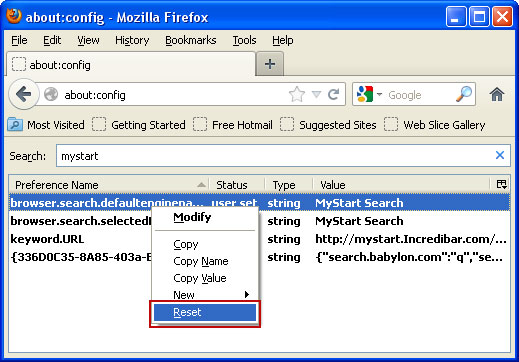 Reset Preferences Mystart Hijack