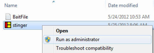 Run Stinger As Administrator