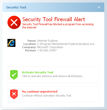 Security Tool Firewall Alert