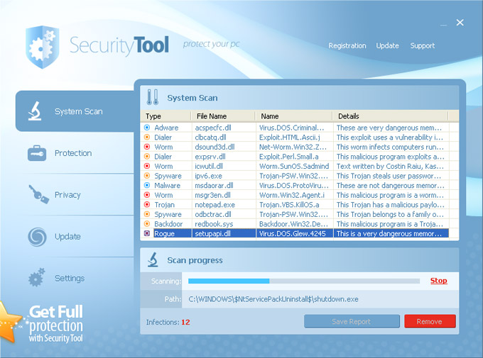 Security Tool Fake Virus Scanner