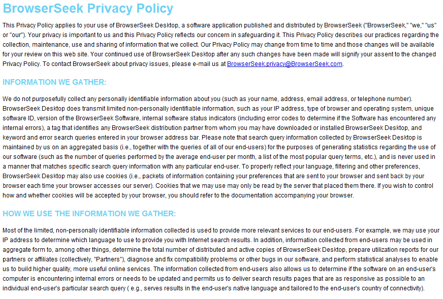 Browser Seek Privacy Policy
