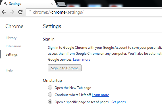 Chrome Settings Set Pages