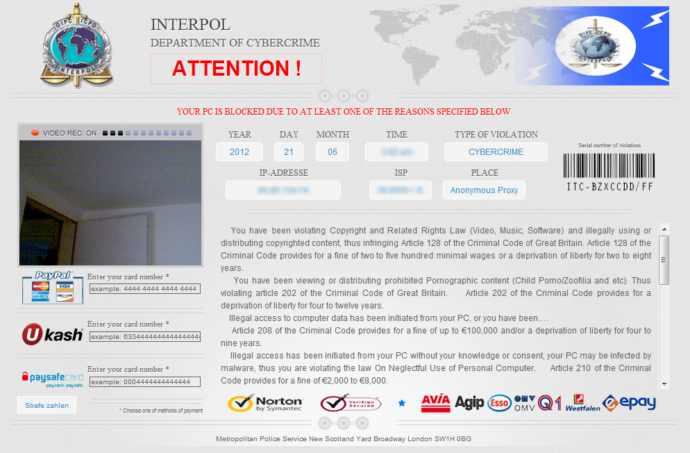 Interpol Department Of Cybercrime Ransomware Virus
