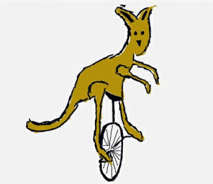 Kangaroo on a unicycle