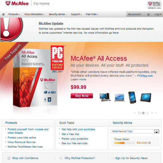 McAfee Products Lose Internet Connection And Are Unusable