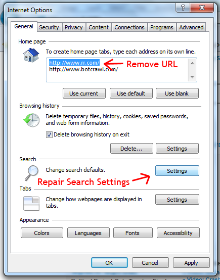 Remove RoadRunner And Repair Search Settings