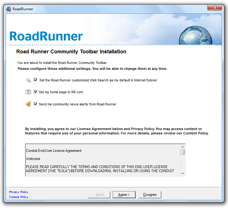 RoadRunner Toolbar