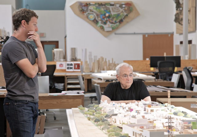 Zuckerberg and Gehry Facebook HQ design