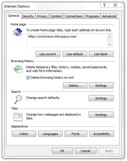 Coolchaser Infospace Internet Explorer Virus