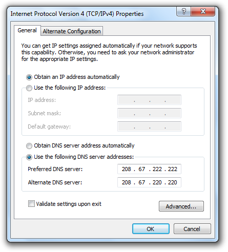 Open DNS Server IP Addresses