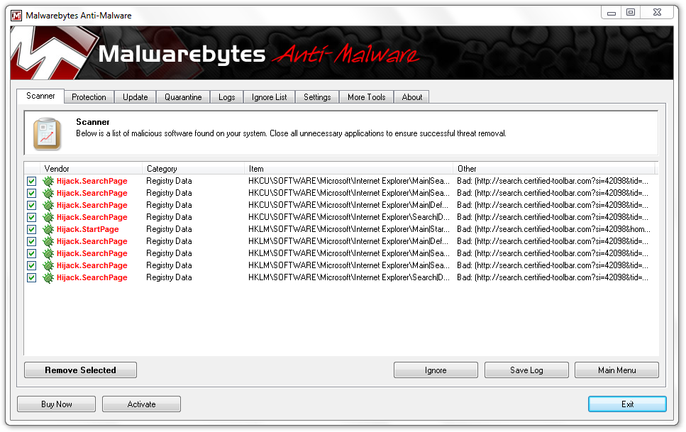 Malwarebytes Cerified Toolbar Removal
