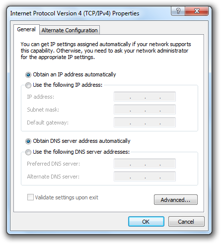 Obtain DNS Server addresses automatically