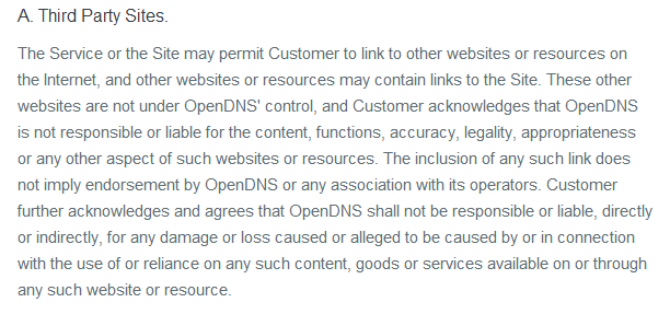 OpenDNS Third Party Sites