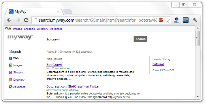 Search Myway Redirection Virus