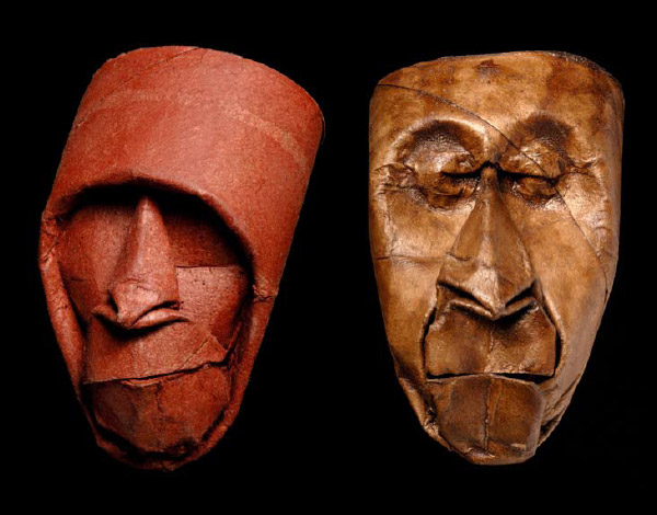 Thatrical Old Man Faces Made From Toilet Paper Rolls 1
