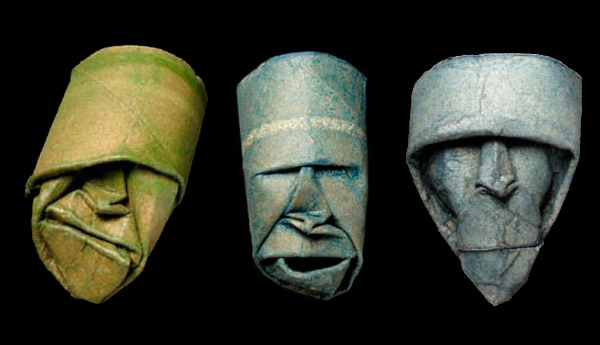 Thatrical Old Man Faces Made From Toilet Paper Rolls 5