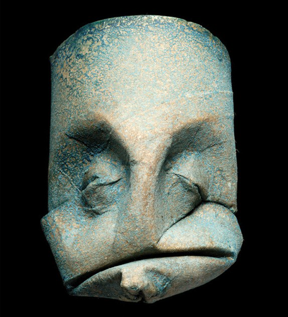 Thatrical Old Man Faces Made From Toilet Paper Rolls 7