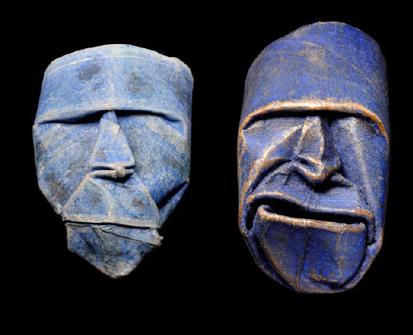 Thatrical Old Man Faces Made From Toilet Paper Rolls