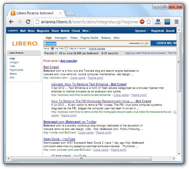 Arianna Libero Search Engine Virus