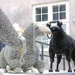 Black and white phone chord sheep