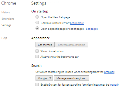 Chrome Settings Start Up Search Engines