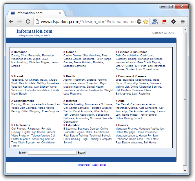 Dsparking Home Page Hijack