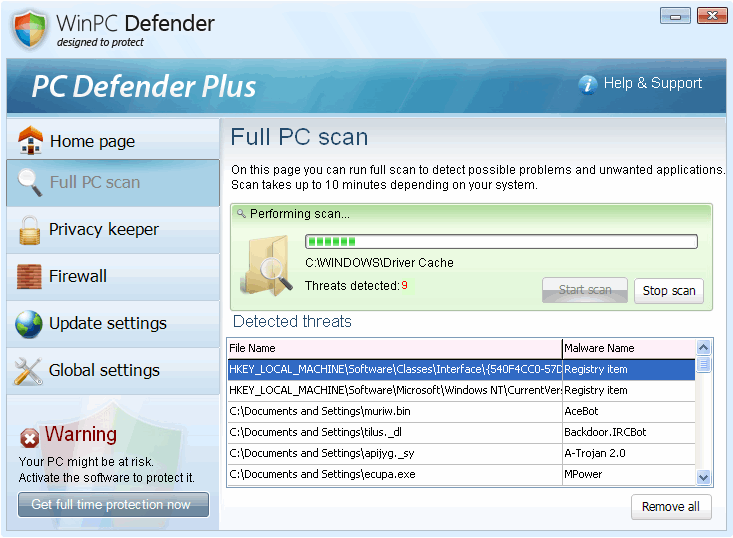 Remove PC Defender Plus Virus