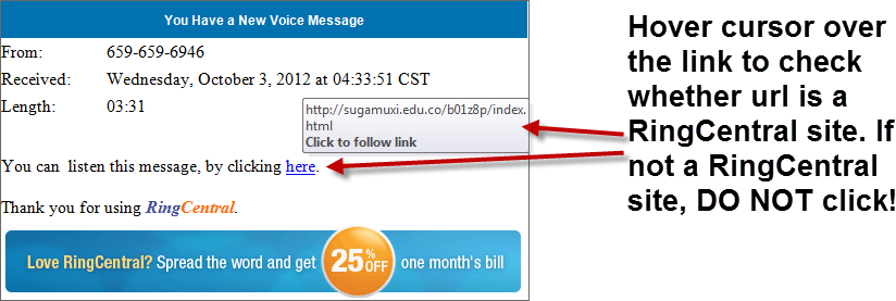 RingCentral Email Scam Link