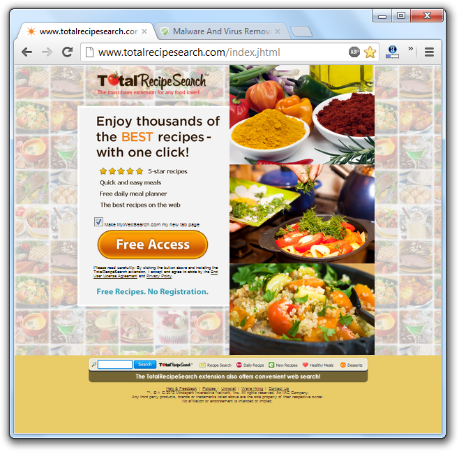 TotalRecipeSearch.com Virus