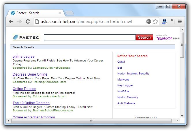 USLC Search Help Redirection Virus