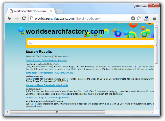 Worldsearchfactory.com Redirection Virus