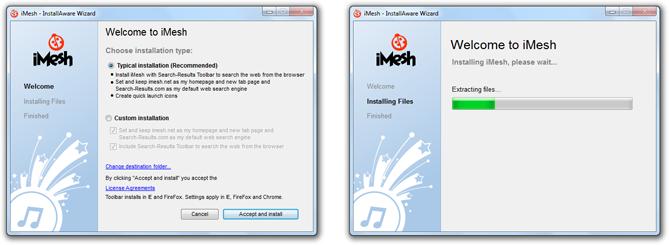 iMesh InstallAware Wizard Malware