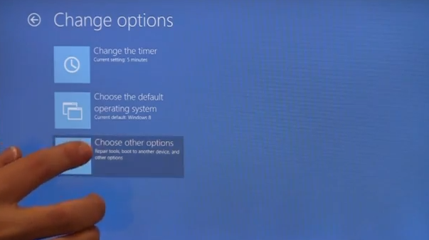 Choose other options (Windows 8)