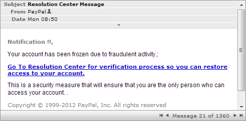Fake PayPal Resolution Center Message Email Spam