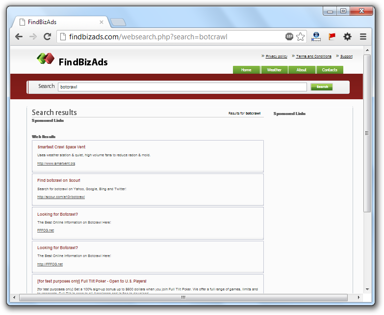 FindBizAds.com Redirection Virus
