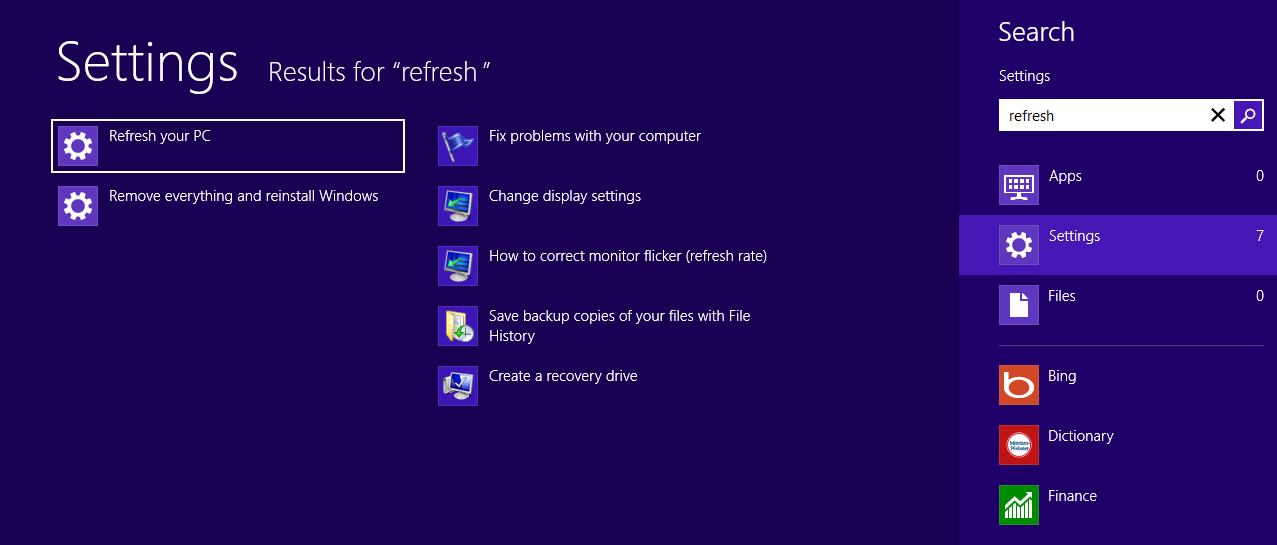 Refresh Reset Windows 8