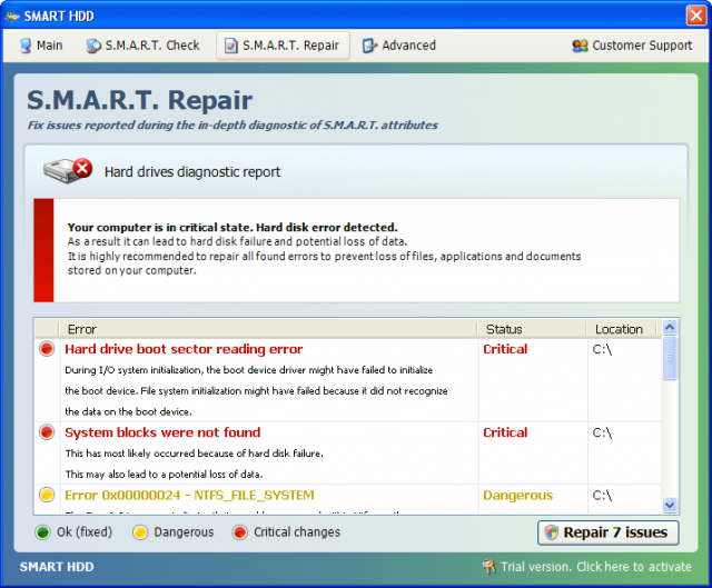 Remove Smart Repair Smart HDD Virus