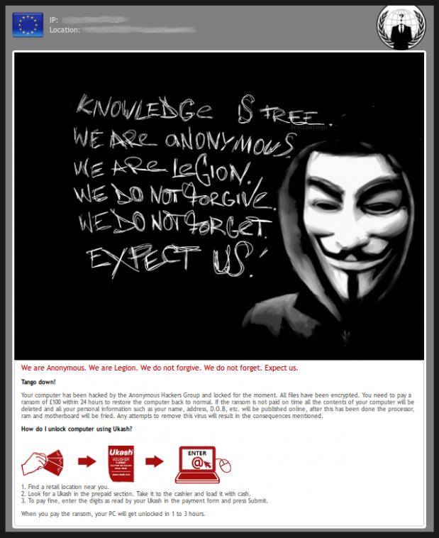 Remove We Are Anonymous Ukash Virus