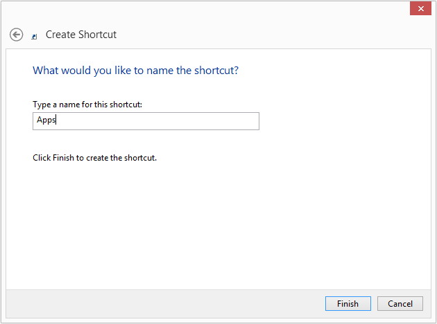 Create Windows 8 Apps Desktop Shortcut