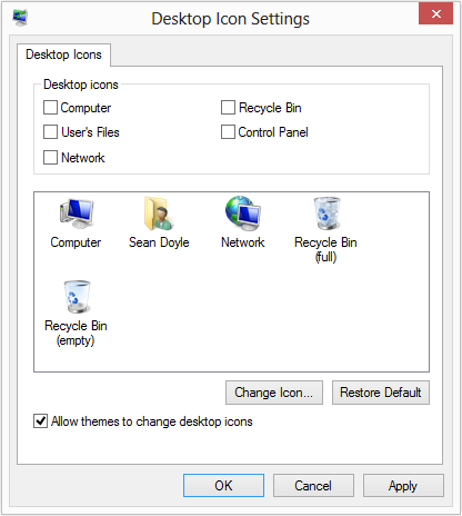 Windows 8 Desktop Icon Settings - Recycle Bin