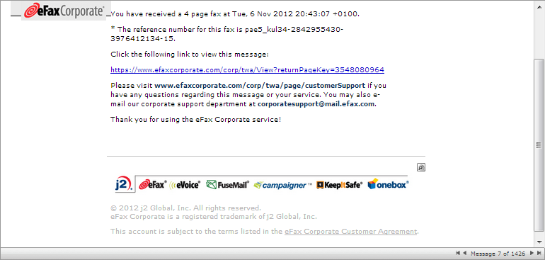 eFax Corporate Spam Email Warning